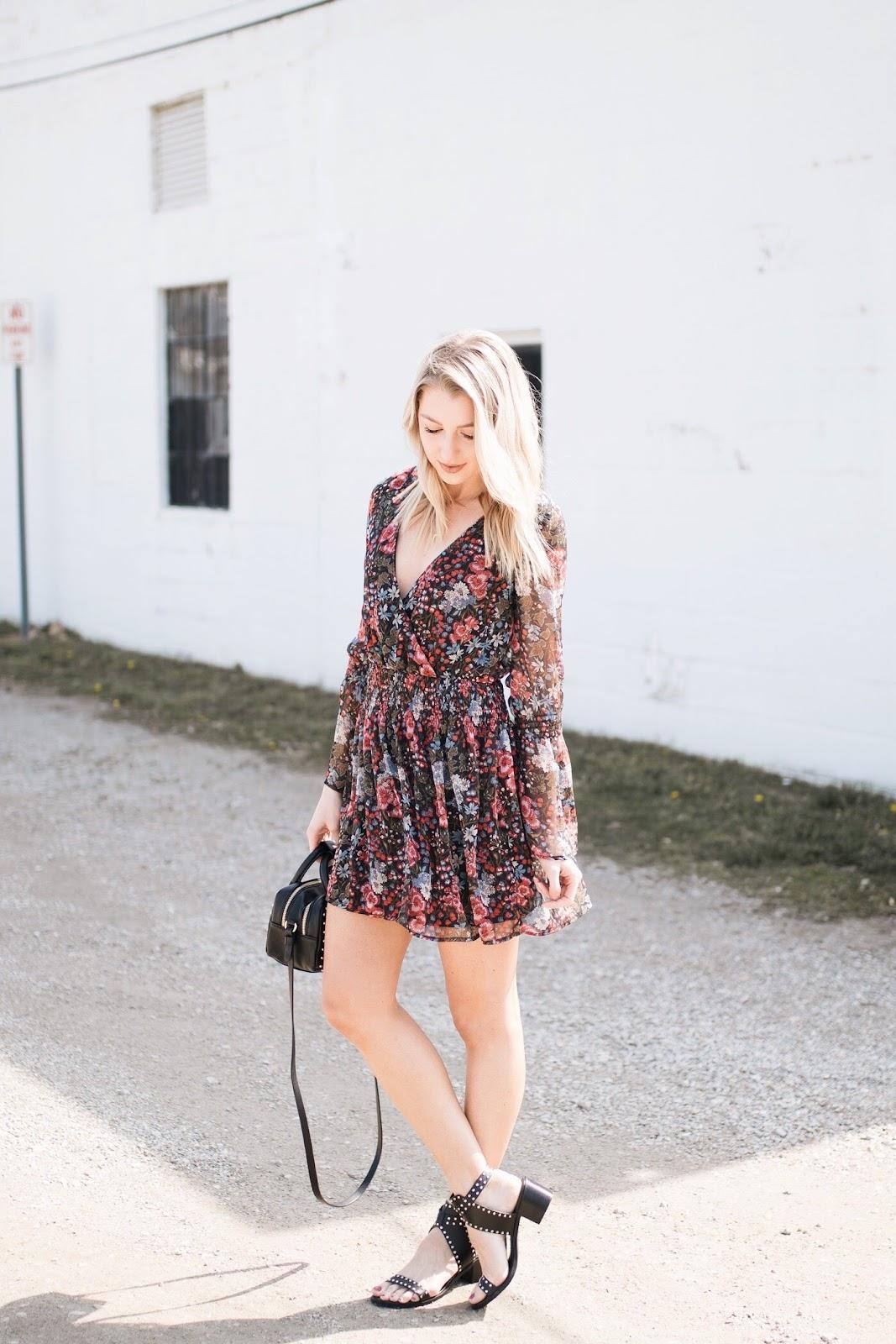Floral dress + studded sandals