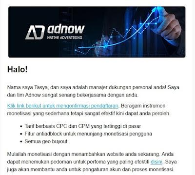 Gambar di bawah merupakan contoh pesan dari Adnow. Sobat tinggal klik Link berikut untuk mengonfirmasi pendaftaran atau perintah lainnya seperti klik disini/click here.