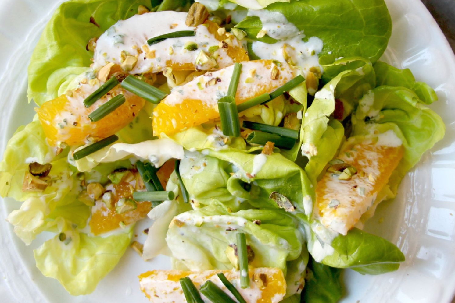 Image result for Butter Lettuce Salad with Pistachios and Orange Crème Fraîche Dressing