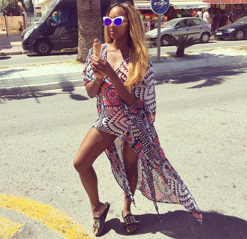 DJ Cuppy flaunts sexy legs in Spain