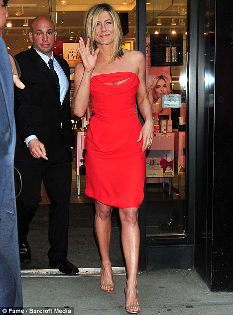 Jennifer Aniston ditches her favourite black LBD for a more eye-catching look