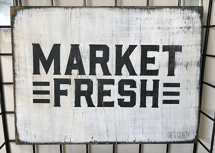 market fresh wooden sign, produce basket