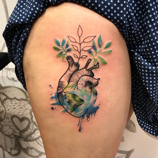 heart shaped earth tattoo