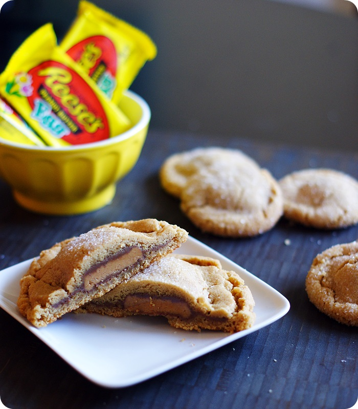 reese's peanut butter cup egg-stuffed peanut butter cookies ♥ bakeat350.net