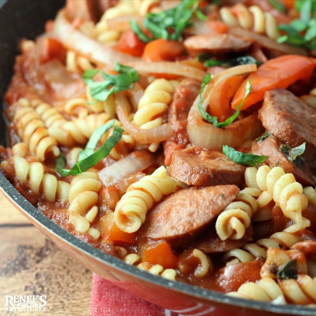 Smoked Sausage and Pepper Pasta Skillet