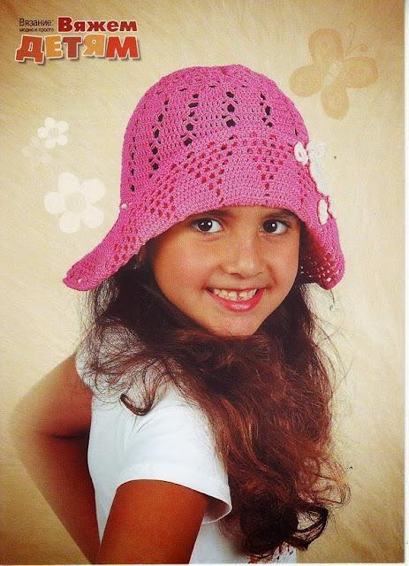 Chapéu de Crochê Com Gráfico Para Meninas