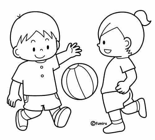 Tranh cho bé tô màu hai bạn đang chơi đá bóng