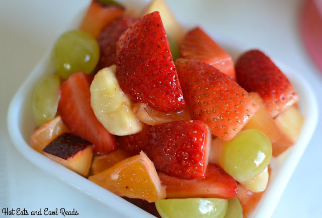 This fruit salad is the perfect addition to any meal! It's simple with a great variety of fruit, and a delicious sweet lemon sauce to bring it all together! Best Ever Breakfast or Brunch Strawberry Fruit Salad Recipe from Hot Eats and Cool Reads