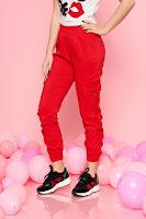 Pantaloni SunShine rosii casual cu talie medie cu elastic
