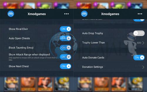 Cara menggunakan semua fitur mod clash royale di xmodgames