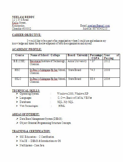 Sample Resume For Lecturer Post In Computer Science. Computer