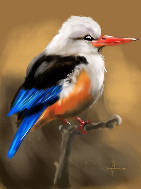 Grey-headed kingfisher bird painting by Artmagenta