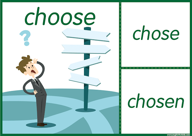 Irregular verb choose - printable ESL flashcards