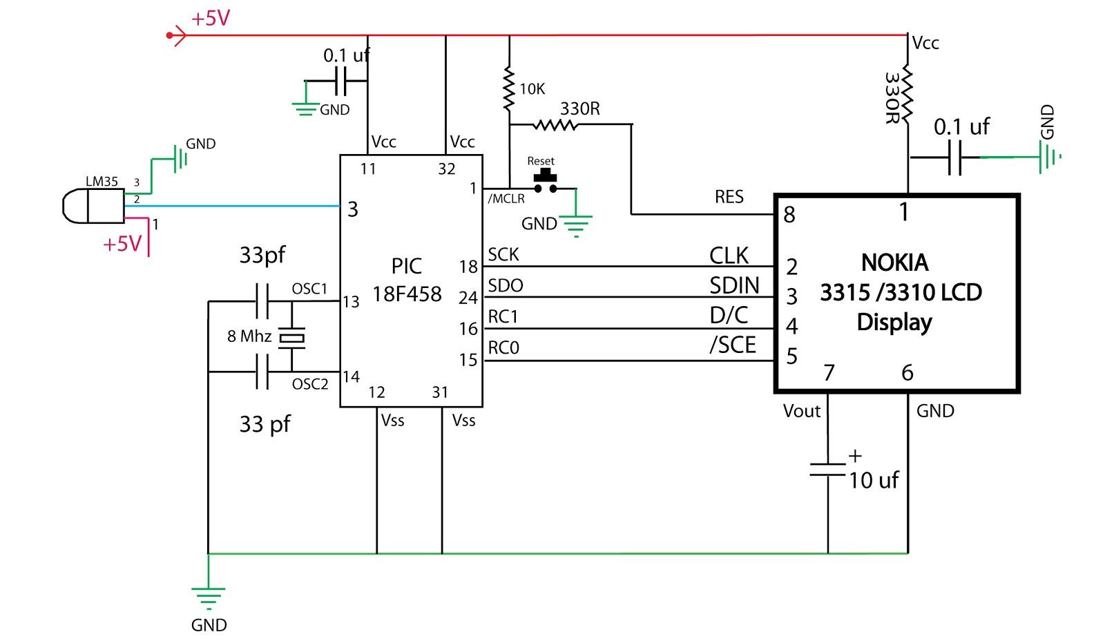 Embedded Engineering : Nokia 3315 LCD Based Temperature Meter