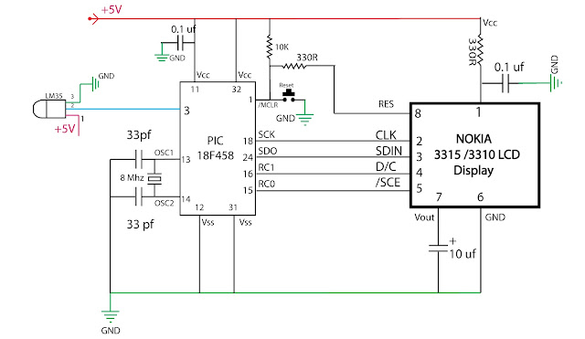 embedded engineering   nokia 3315 lcd based temperature meter