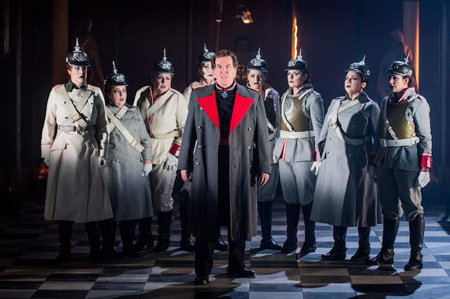 Grange Park Opera - Wagner: Die Walkure - Wotan & the Valkyries: Thomas Hall, Mari Wyn-Williams, Beeca Marriot, Tanya Hurst, Gemma Morsley, Morag Boyle, Anne-Marie Owens, Lauren Easton (credit: Robert Workman)