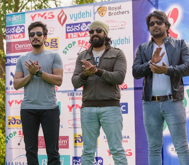 From Left Akhil Akkineni, Yash and Sunil