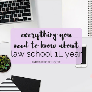 Everything you need to know about law school 1L year -- advice for starting law school, tips for studying in law school, tips for surviving law school, advice for law school finals, tips for spring semester of law school, advice for transferring law schools. law school advice. law school tips. law school blog. law student blog | brazenandbrunette.com