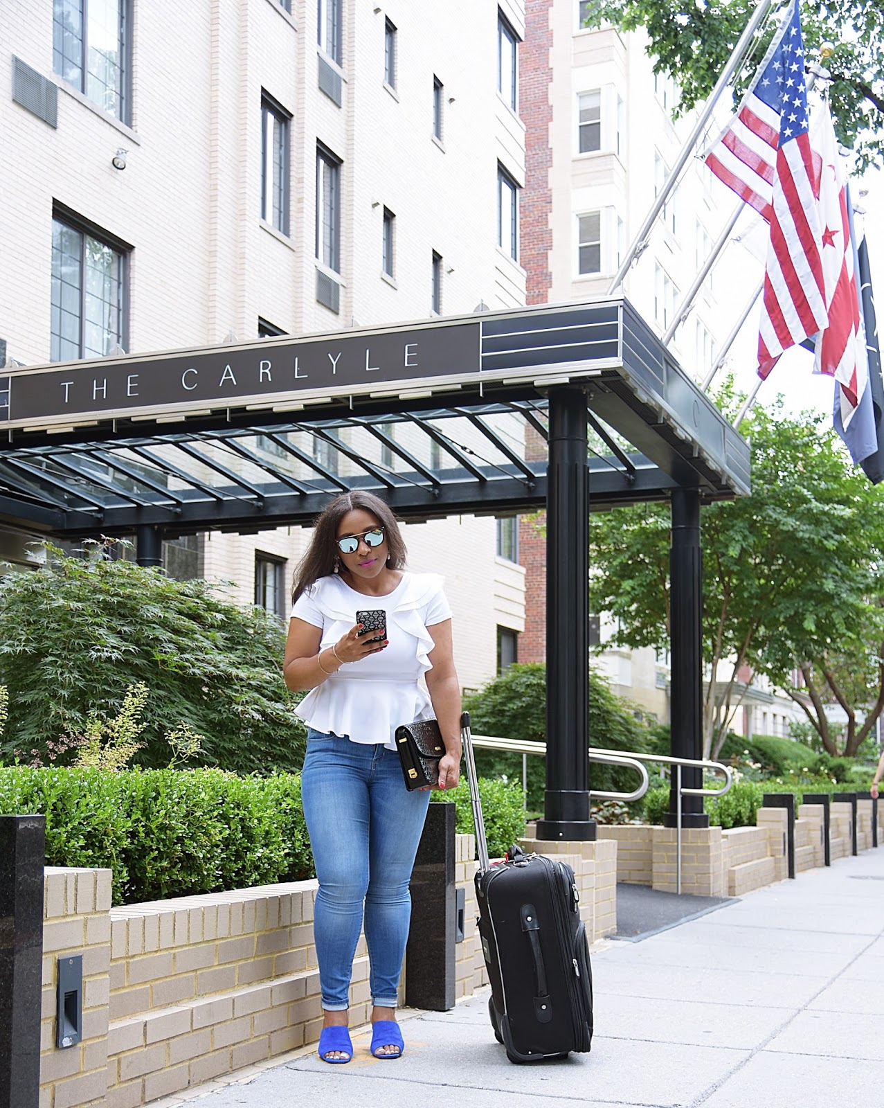 Staycation at The Carlyle Hotel DC, travel blogger, suitcase, hotel lobby, traveling, dc travels, hotels in dc