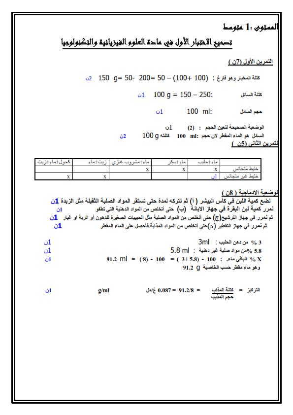 تمارين فيزياء للسنة الأولى متوسط مع الحلول, فيزياء السنة الأولى متوسط في الجزائر