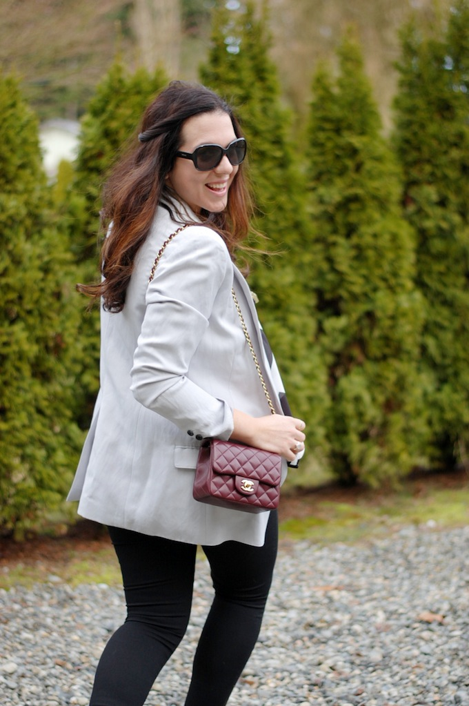 Chanel Mini flap bag burgundy Lambskin and Smythe Long Shawl Blazer by Vancouver fashion blogger Aleesha Harris of Covet and Acquire.