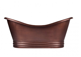 HAMMERED DARK COPPER DOUBLE-SLIPPER TUB