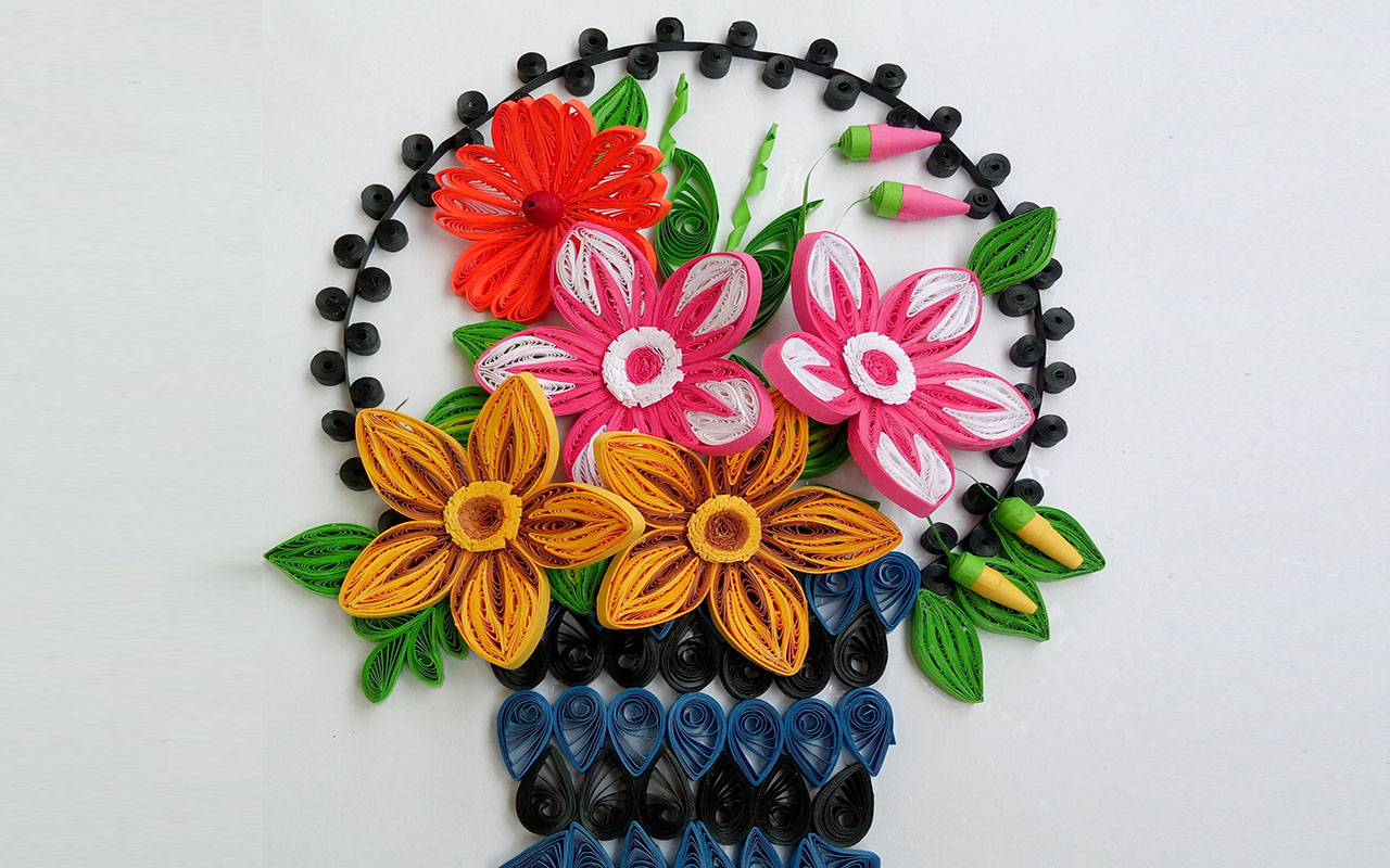 Paper quilling art how to make beautiful flower basket paper paper quilling art how to make beautiful flower basket mightylinksfo