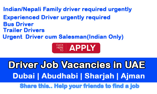 Driver Job Vacancy In |UAE - JOBNEWS club