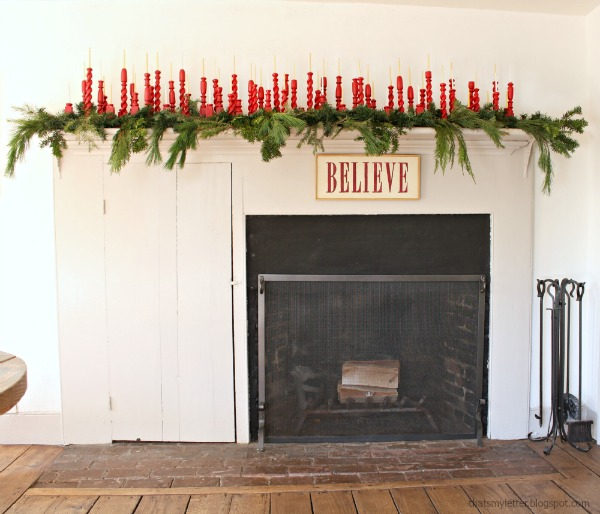repurposed spindles, simple Christmas mantel decor