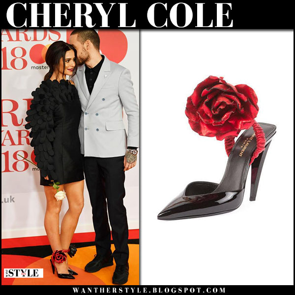 Cheryl Cole in black mini dress and black pumps with rose flower detail brits 2018 red carpet fashion