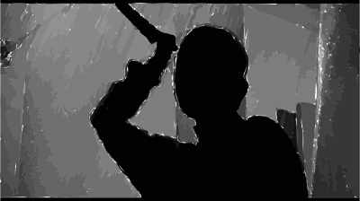 Silhouette of a woman raising a meat-carving knife