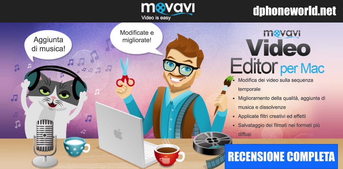 recensione movavi video editor, programma editing video per mac