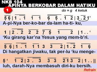 Lirik dan Not NKB 104 Apinya Berkobar Dalam Hatiku