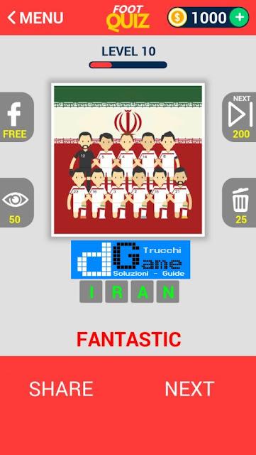 FootQuiz Calcio Quiz Football ( TEAM) soluzione livello 1-10