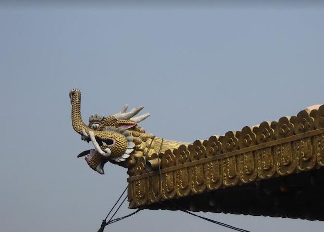 particolare del tetto nel monastero di Guru Lhakhang
