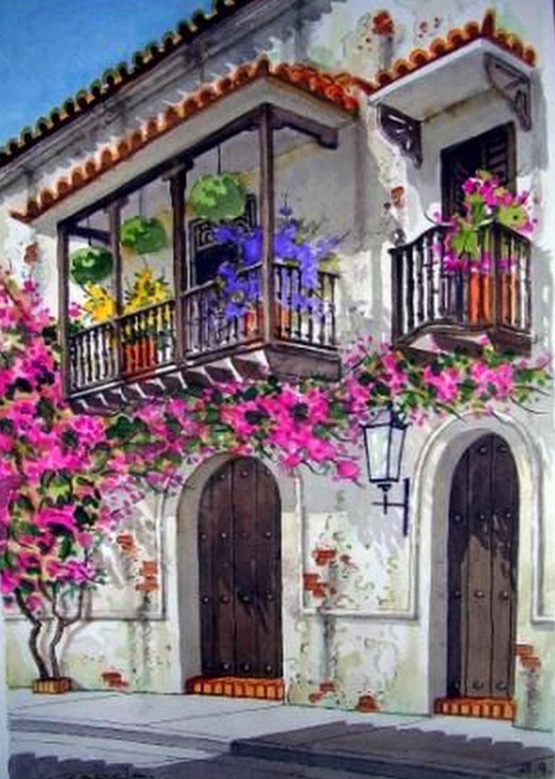 Im genes arte pinturas paisajes acuarelas - Cuadros estilo colonial ...