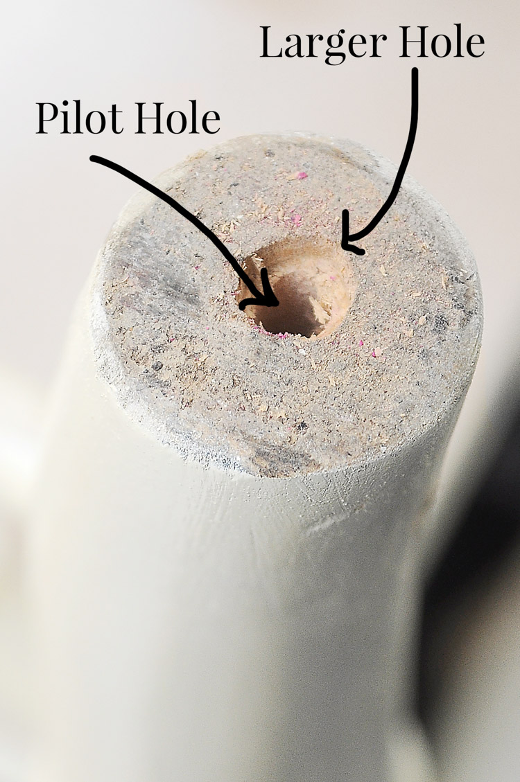 How to drill a hole into a furniture leg to add a screw-on caster.