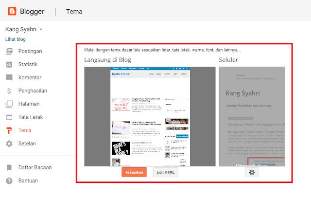 Mengatasi Pesan Not Found Error 404 di Dasbor Template Blog