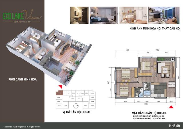 Thiết kế căn hộ số 09 tòa HH03