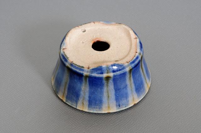 下絵付透明釉丸盆栽鉢(Glaze with design bonsai pot)h1539-2