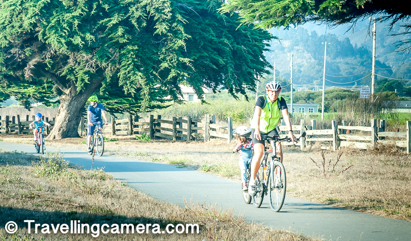 We saw lot of folks biking around the coast and some of them were with kids. There is a road parallel to the coast but some of the stretches are rough as well. I assume that these guys were pro and knew well how to take care of thier kids while riding through rough patches.