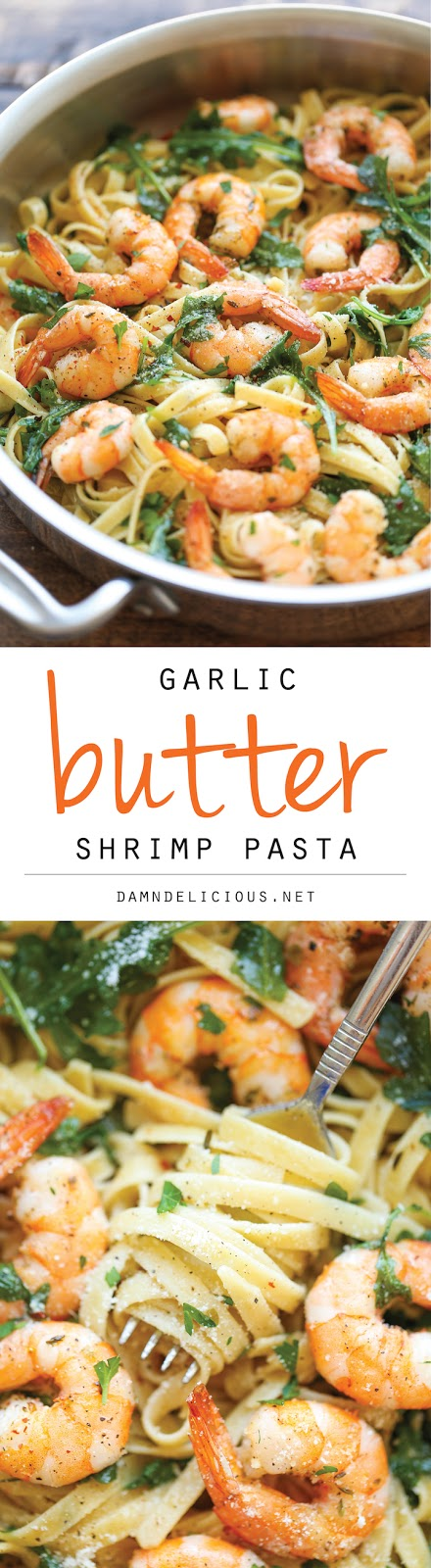 THE BEST GARLIC BUTTER SHRIMP PASTA