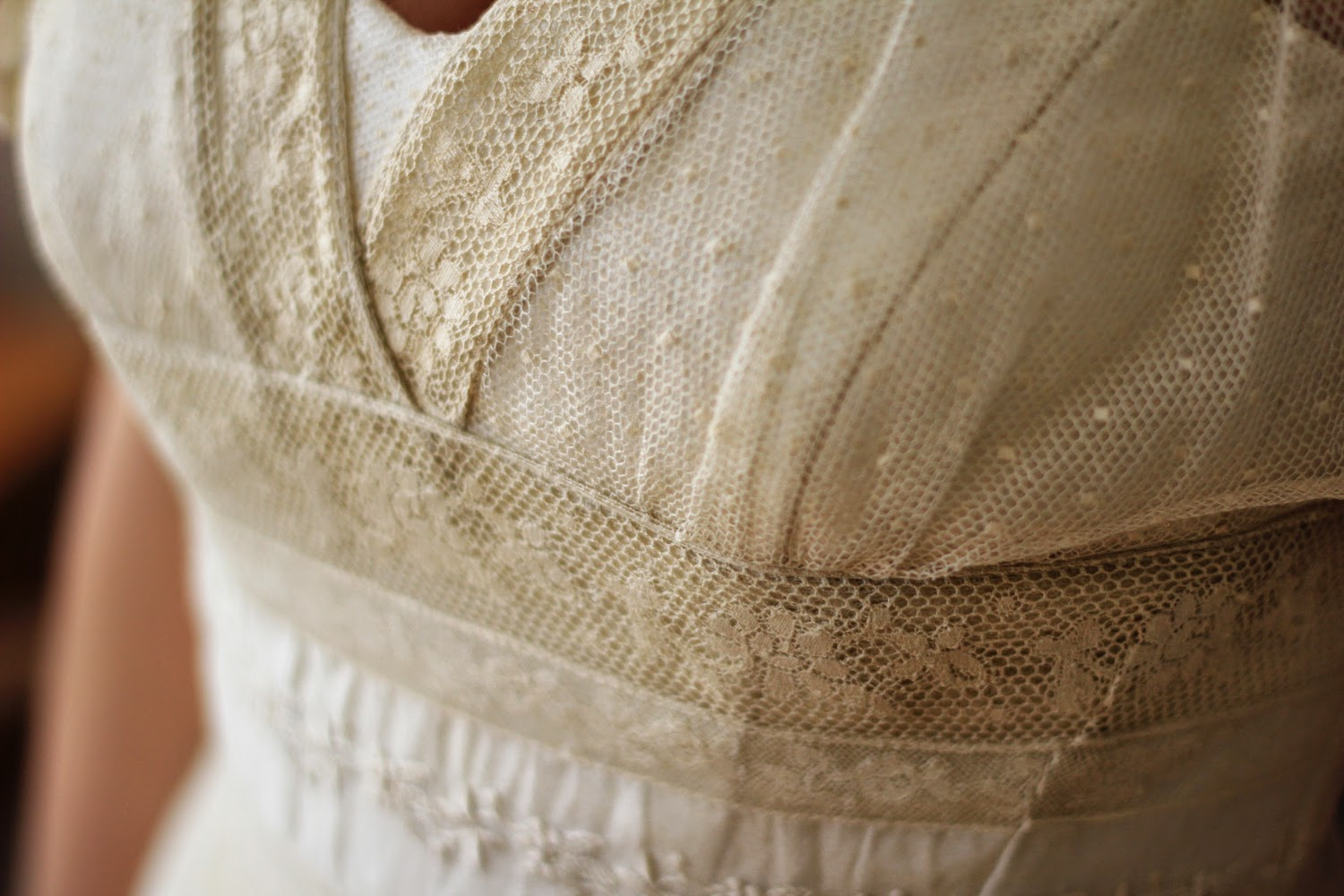 My antique lace wedding dress - made from Normandy lace bedspread