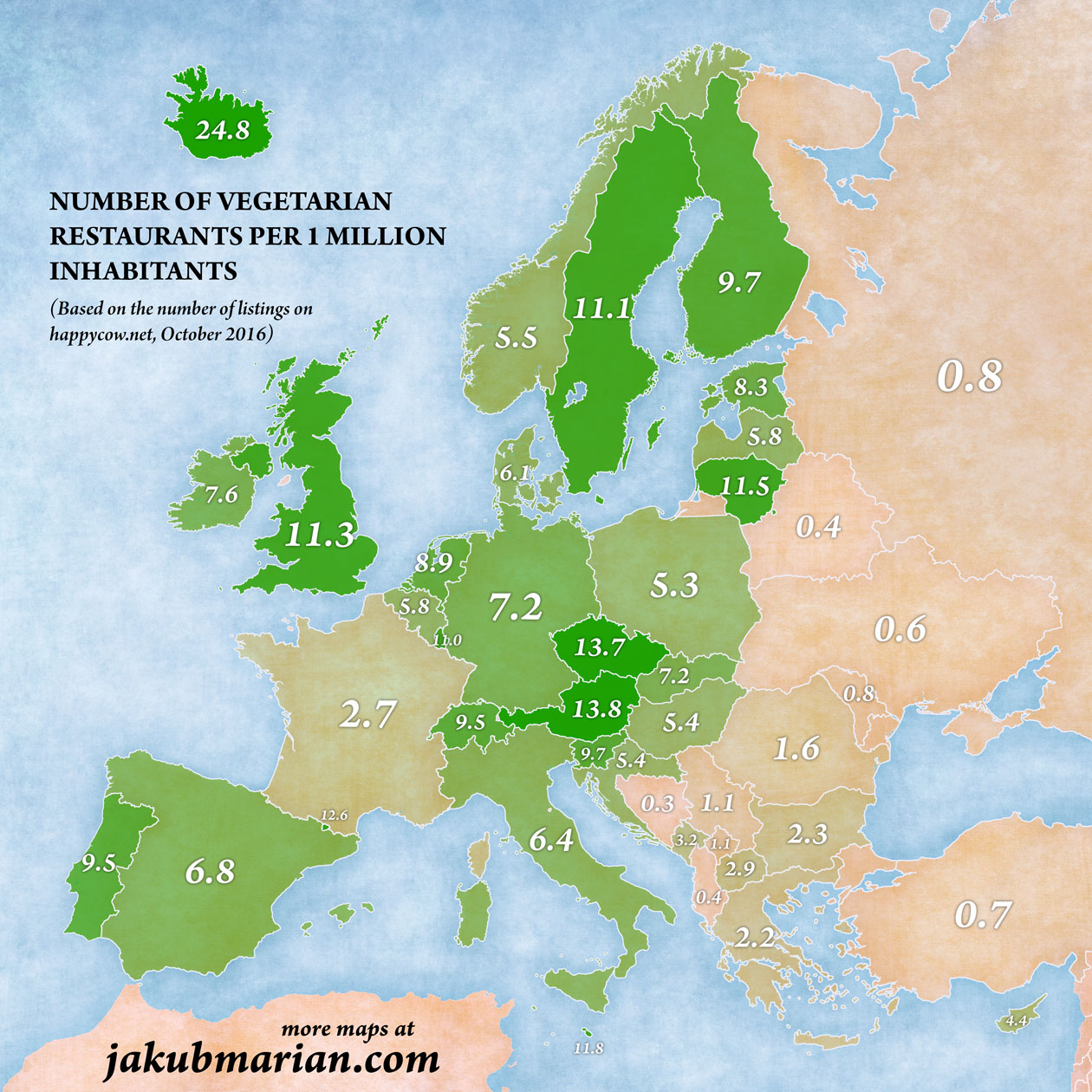 Number of vegetarian restaurants per 1 million inhabitants