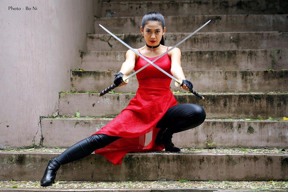 Thinzar Wint Kyaw -  Red Lady In Playing Swords Fashion Photoshoot