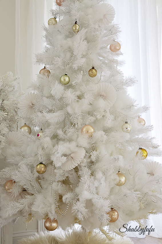 white shabby chic christmas tree