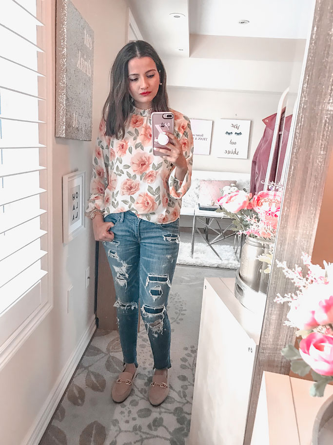 Floral top forever 21 blogger outfit