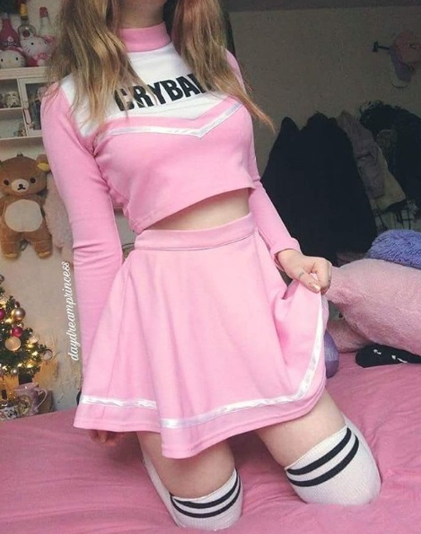 kawaii fashion cute outfits pink skirt thigh high socks pastel hair pretty clothes jfashion fashion blogger blog daydreamprincess_ pink cheerleader costume