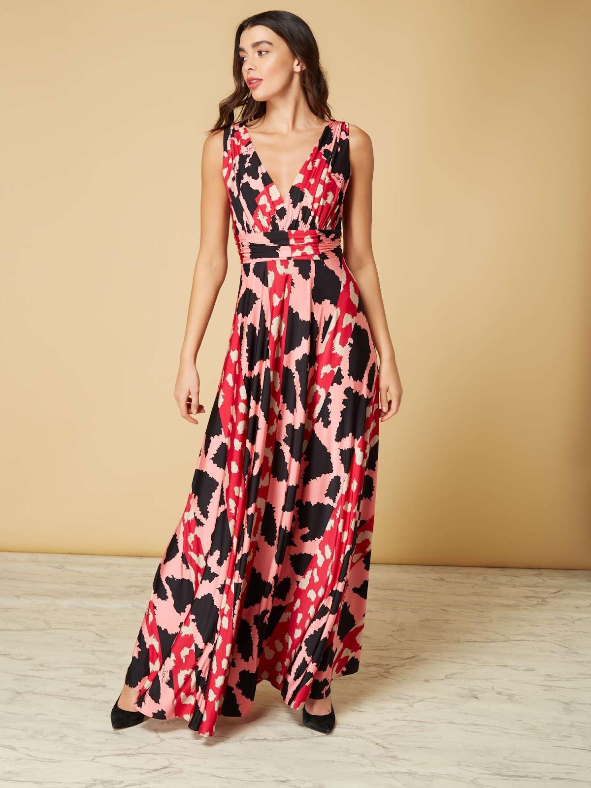 ISSA Printed Animal Deep V Maxi Dress