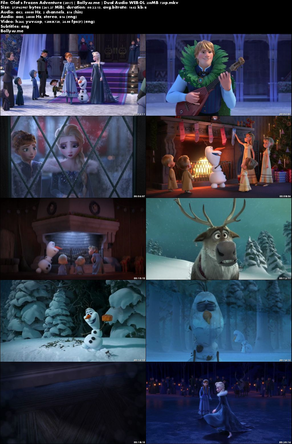 Olaf's Frozen Adventure 2017 WEB-DL 250MB Hindi Dual Audio 720p Download